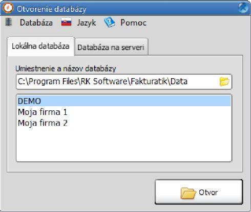 Otevření databáze
